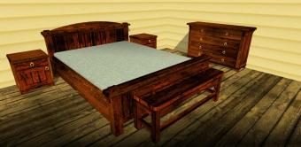 Кровать и тумбы под старину (8)